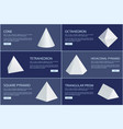 cone and octahedron figures white prisms vector image