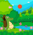 Crocodile sitting by the river vector image vector image