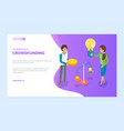 crowdfunding women with money and idea scale web vector image vector image