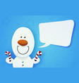 cute snowman witn christmas lollipops in hands vector image
