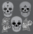 day dead set skulls with roses and vector image