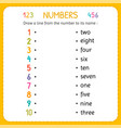 draw a line from the number to its name numbers vector image
