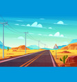 empty highway in hot dessert cartoon vector image vector image