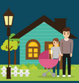 family couple young with house vector image
