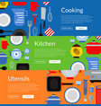 flat style kitchen utensils horizontal web vector image vector image