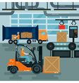 Forklift Inside Factory Cargo Industry Heavy vector image