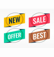 four sale and promotional origami banners vector image