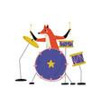 fox playing drums cute cartoon animal musician