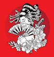 geisha blow skull flower beautiful vector image vector image