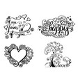hand lettering set for love card vector image vector image