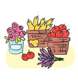 harvest - basket with fruits and herbs vector image