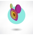 Icon plum with an arrow by organic food vector image vector image