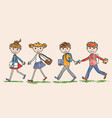 junior students go to school vector image vector image
