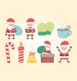 merry merry christmas card with set icons vector image vector image