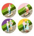 modern elderly people 2x2 design concept vector image