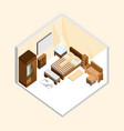 natural wood classic bedroom isometric home vector image