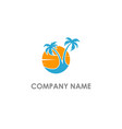 palm tree sunset landscape logo vector image vector image