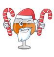 santa with candy cognac ballon glass mascot vector image