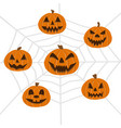 scary halloween pumpkin set vector image