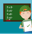 school boy with exam vector image