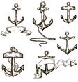 set hand drawn anchors and ribbons vector image