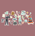 set stickers circus magician characters vector image