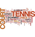tennis court equipment text background word cloud vector image vector image