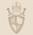 viking warrior set - shield crossed swords and vector image vector image