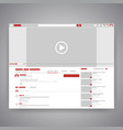 web browser social media youtube video player vector image