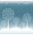 Winter trees on Christmas postcard background vector image vector image