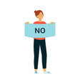 woman stand holding protest placard with no vector image vector image