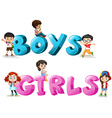 Word design with word boys and girls vector image vector image