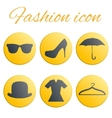 Yellow fashion realistic button set vector image vector image