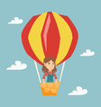 young caucasian woman flying in hot air balloon vector image vector image