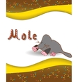 Alphabet letter M and mole vector image