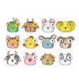 Set of cute cartoon animals and birds vector image