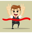 business man smile and run to the finish vector image