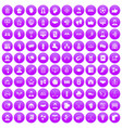 100 team icons set purple vector image vector image