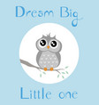a baby owl with full blue background vector image vector image
