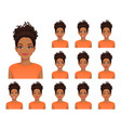 african woman expressions set vector image vector image