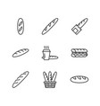 baguette food flat line icons bread house vector image