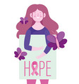 breast cancer awareness month woman with hope vector image vector image