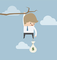 Businessman with money bag hanging on a branch vector image vector image