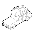 Car with luggage and boxes icon isometric 3d style vector image vector image