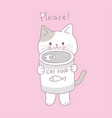 cartoon cute cat and can food vector image vector image