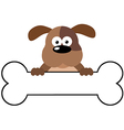 Cartoon Dog Over A Bone Banner vector image vector image