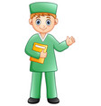 cartoon male nurse waving hand vector image