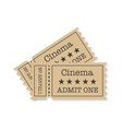cinema tickets with shadow on a white background vector image