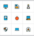 computer icons colored line set with computer vector image