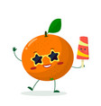 cute orange cartoon character in sunglasses star vector image vector image